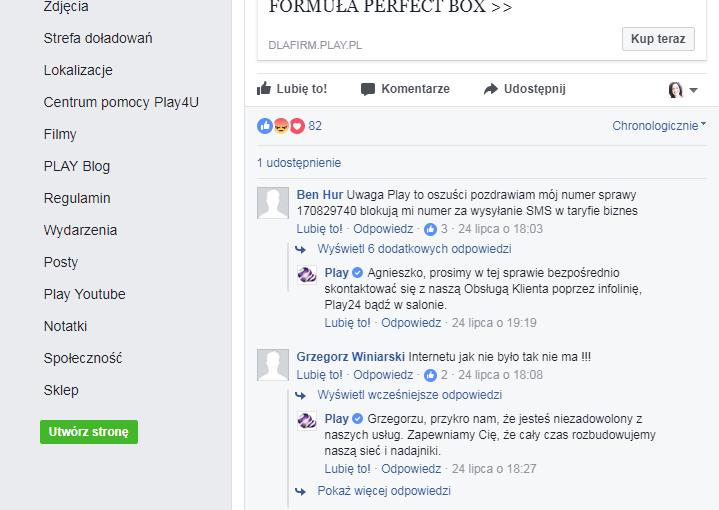 obsługa Klienta fanpage Facebook