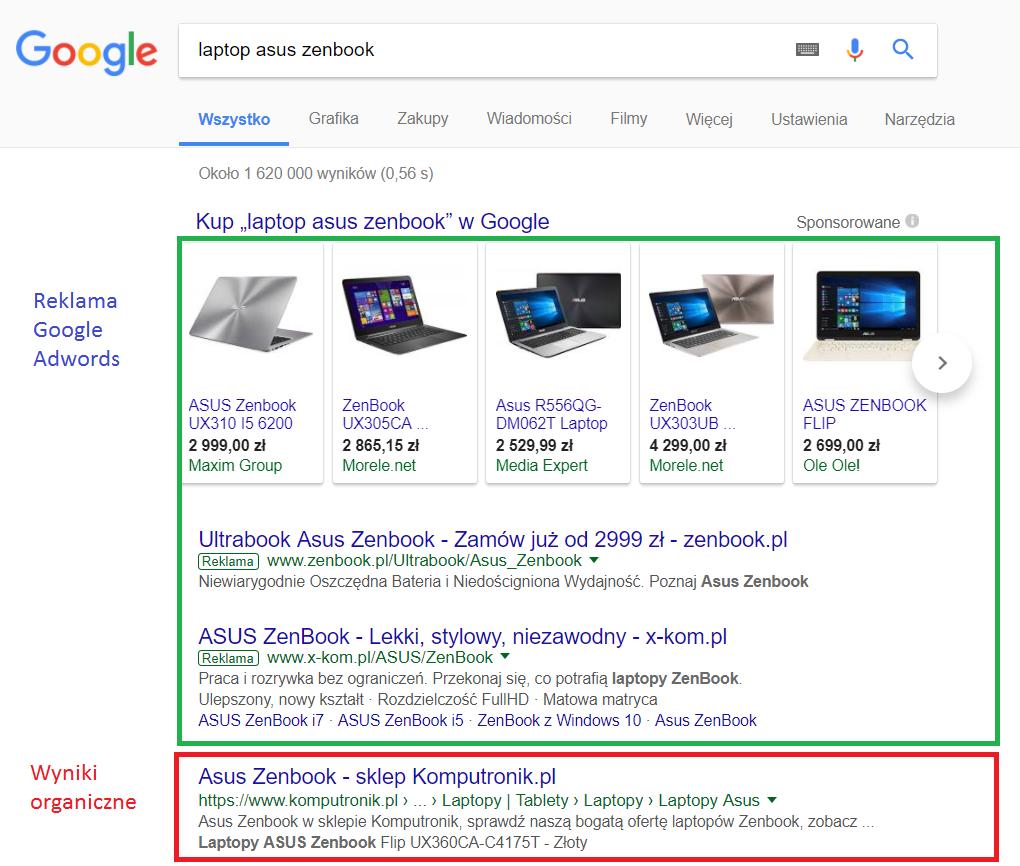 SERP - pierwsza strona wyników wyszukiwania Google